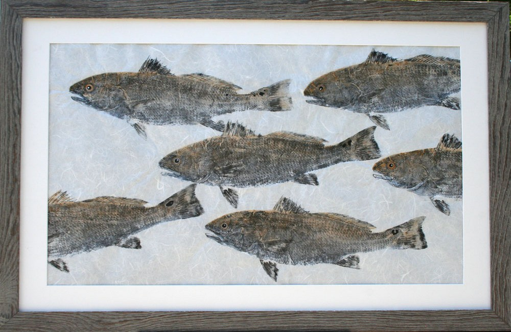 Red Drum School Gyotaku Rubbing